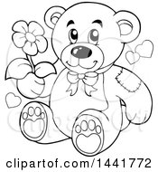 Clipart Of A Black And White Lineart Teddy Bear Holding A Flower Royalty Free Vector Illustration by visekart