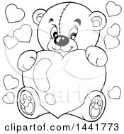 Poster, Art Print Of Black And White Lineart Valentine Teddy Bear Hugging A Heart