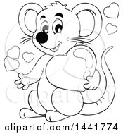 Poster, Art Print Of Black And White Lineart Valentine Mouse Holding A Heart