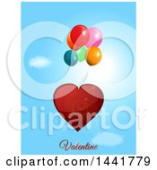 Red Love Heart Floating With Balloons Over A Sky With Valentine Text