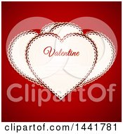 Heart Shaped Paper Valentines Over Red