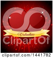 Clipart Of A Red Heart With A Valentine Text Banner Over A Burst Royalty Free Vector Illustration