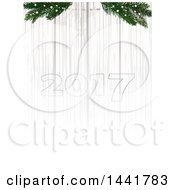Twenty Seventeen Numbers On A Fading White Wood Background With Pin Branches