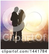 Poster, Art Print Of Silhouetted Valentines Day Couple Embracing Against A Sunset