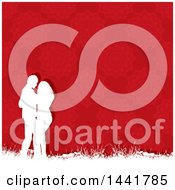 Poster, Art Print Of White Silhouetted Valentines Day Couple Embracing Over A Red Pattern