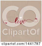 Cardboard Texture Background With Hearts And Love Text
