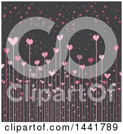 Poster, Art Print Of Background Of Heart Flowers On Gray