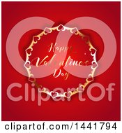Happy Valentines Day Greeting In An Ornate Golden Frame On Red
