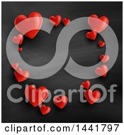 Frame Of Red Valentine Hearts On A Blackboard