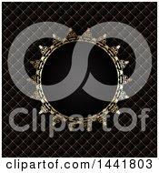 Round Ornate Golden Frame Over Diamonds On Black