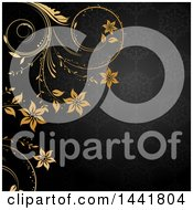 Dark Gray Floral Patterned Background With Golden Flower Vines