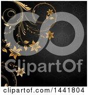 Poster, Art Print Of Dark Gray Floral Patterned Background With Golden Flower Vines