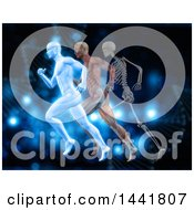 Clipart Of 3d Anatomical Men Running With Visible Muscles And Skeleton Over Blue With Dna Strands Royalty Free Illustration