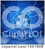 Clipart Of A 3d Xrayed Anatomical Man With Visible Brain And Lightning Over Blue Royalty Free Illustration