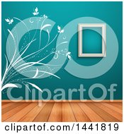 Clipart Of A White Floral Wall Decal And Empty Frame On A Teal Wall In A Room With Wood Floors Royalty Free Vector Illustration by KJ Pargeter