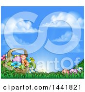 Clipart Of A Cartoon Basket Of Easter Eggs And Flowers In Grass Against A Blue Sunny Sky Royalty Free Vector Illustration