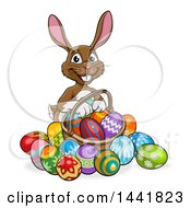 Cartoon Happy Brown Easter Bunny Rabbit With A Basket And Eggs