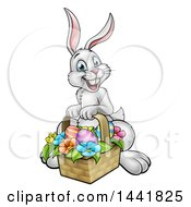 Clipart Of A Cartoon Happy White Easter Bunny Rabbit With A Basket And Eggs Royalty Free Vector Illustration