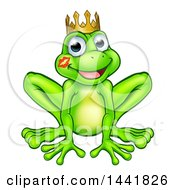 Clipart Of A Cartoon Happy Smiling Green Frog Prince With A Liptstick Kiss On His Cheek Royalty Free Vector Illustration