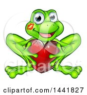 Poster, Art Print Of Cartoon Happy Smiling Green Frog With A Liptstick Kiss On His Cheek Holding A Red Heart