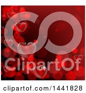 Poster, Art Print Of Red Background Of 3d Hearts Forming A Border