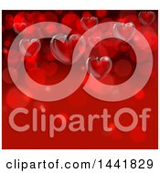 Poster, Art Print Of Background Of 3d Hearts On Red