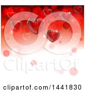 Poster, Art Print Of Background Of 3d Red Hearts And Bubbles On Gradient