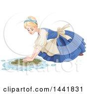 Sad Cinderella As A Maid Scrubbing A Floor
