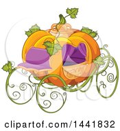 Clipart Of A Fantasy Pumpkin Cinderella Carriage Royalty Free Vector Illustration by Pushkin