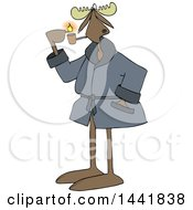 Cartoon Moose In A Robe Lighting A Pipe
