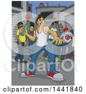Clipart Of A Group Of Angry Violent Male Rioters One Throwing A Bottle Royalty Free Vector Illustration