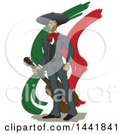 Clipart Of A Proud Mariachi Man Holding A Guitar Over Mexican Colored Streaks Royalty Free Vector Illustration