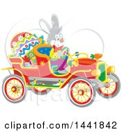 Easter Rabbit Driving A Vintage Convertible Car With A Giant Egg And Gifts