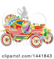 Cartoon Easter Bunny Rabbit Driving A Vintage Convertible Car With A Giant Egg And Gifts