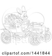 Cartoon Black And White Lineart Easter Bunny Rabbit Driving A Vintage Convertible Car With A Giant Egg And Gifts