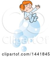 Cartoon Red Haired Caucasian Boy Dreaming Of Riding Bubbles