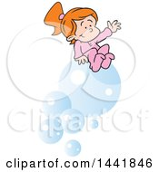 Cartoon Red Haired Caucasian Girl Dreaming Of Riding Bubbles