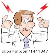 Cartoon Caucasian Businessman Focusing And Concentrating With Bolts Over His Head