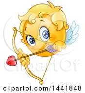 Clipart Of A Cartoon Yellow Emoji Smiley Face Emoticon Cupid Aiming An Arrow Royalty Free Vector Illustration by yayayoyo
