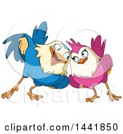 Cartoon Loving Bird Couple Cuddling
