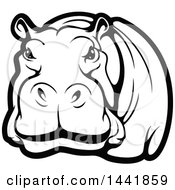 Clipart Of A Black And White Hippo Royalty Free Vector Illustration by Vector Tradition SM