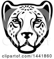 Clipart Of A Black And White Leopard Or Cheetah Face Royalty Free Vector Illustration by Vector Tradition SM