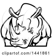 Clipart Of A Black And White Rhino Royalty Free Vector Illustration by Seamartini Graphics