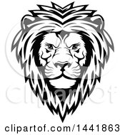 Clipart Of A Black And White Male Lion Head Royalty Free Vector Illustration by Seamartini Graphics