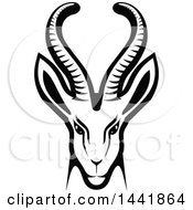 Clipart Of A Black And White Gazelle Or Saiga Antelope Head Royalty Free Vector Illustration by Vector Tradition SM