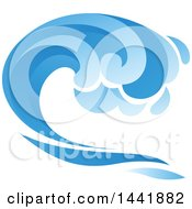 Clipart Of A Blue Splash Ocean Wave Royalty Free Vector Illustration