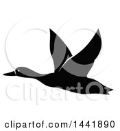 Clipart Of A Black And White Flying Duck Royalty Free Vector Illustration by Vector Tradition SM