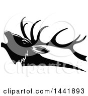 Clipart Of A Black And White Elk Head In Profile Royalty Free Vector Illustration by Vector Tradition SM