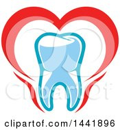 Clipart Of A Red White And Blue Dental Tooth Logo Royalty Free Vector Illustration by Vector Tradition SM