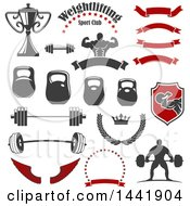 Gray Red And White Fitness And Gym Design Elements
